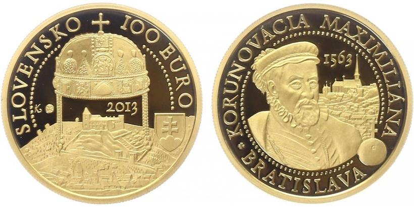 100 EURO 2013 - Bratislavská korunovace - 450. výročí korunovace Maximiliána v Braztislavě, PROOF
