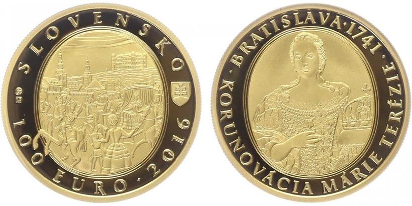 100 EURO 2016 - 275. výročí korunovace Marie Terezie v Bratislavě, PROOF