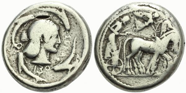 AR Tetradrachma, Hlava Arthemis / Quadriga, Sear.913 var., 25 mm (16,9 g)