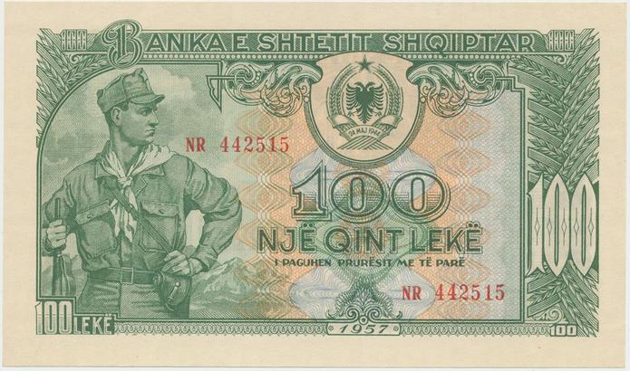 Albánie, 100 Leke 1957, P.30