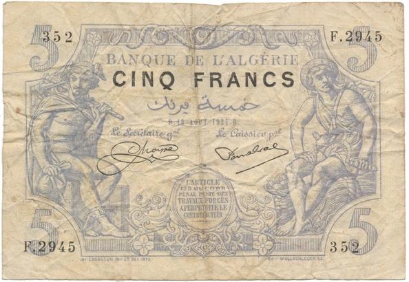 Alžírsko, 5 Francs 1924, P.71b
