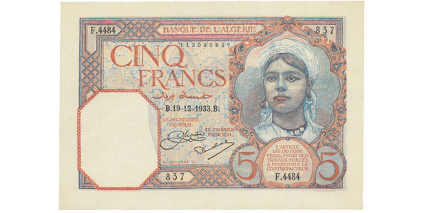 Alžírsko, 5 Francs 1933, P.77a
