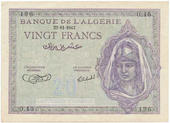 Alžírsko, 20 Francs 1942, P.92a