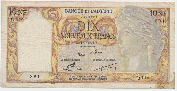 Alžír, 10 Nouveaux Francs 1959, P.119