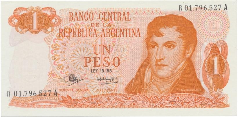 Argentina, 1 Peso (1970~1973), náhradní série R, P.287