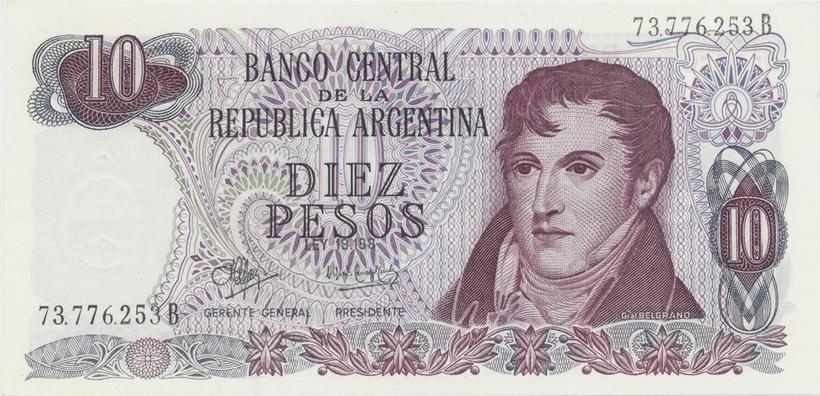 Argentina, 10 Pesos (1970~1973), P.289