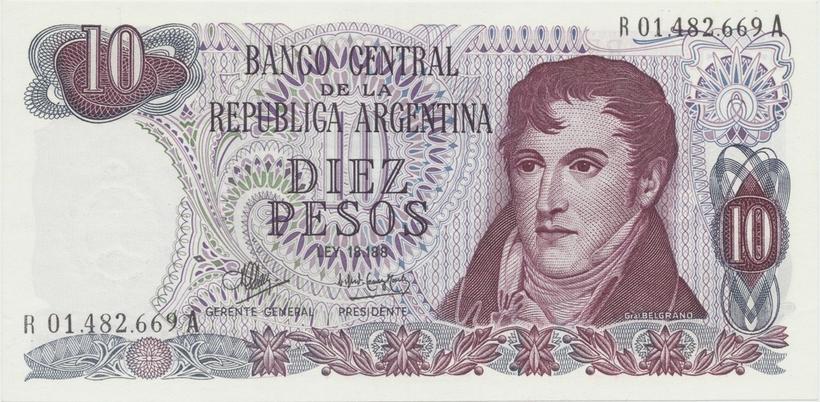 Argentina, 10 Pesos (1970~1973), náhradní série R, P.289