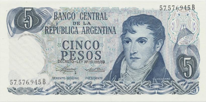 Argentina, 5 Pesos (1974~1976), P.294