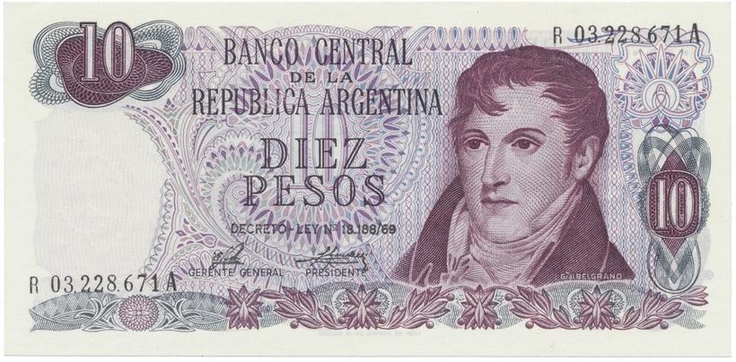 Argentina, 10 Pesos (1973~1976), náhradní série R, P.295