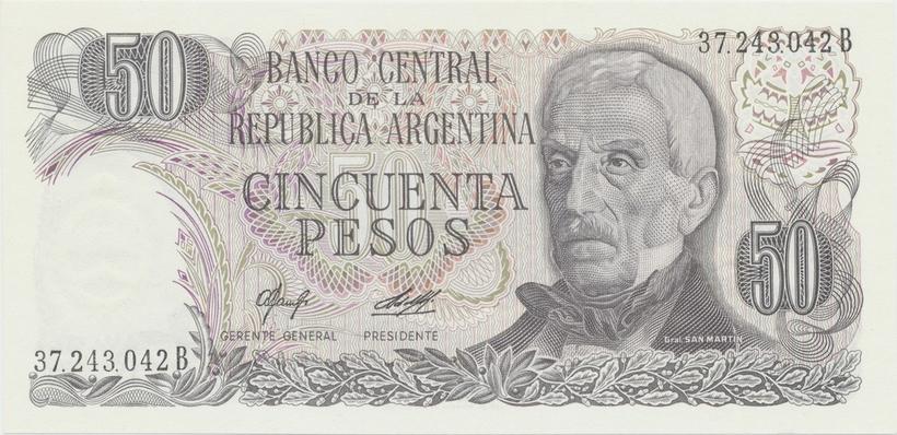 Argentina, 50 Pesos (1977~1982), papír bez ochranných vláken, P.301a