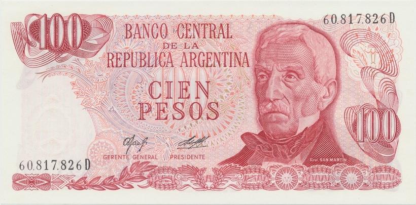 Argentina, 100 Pesos (1976~1978), papír bez ochranných vláken, P.302a