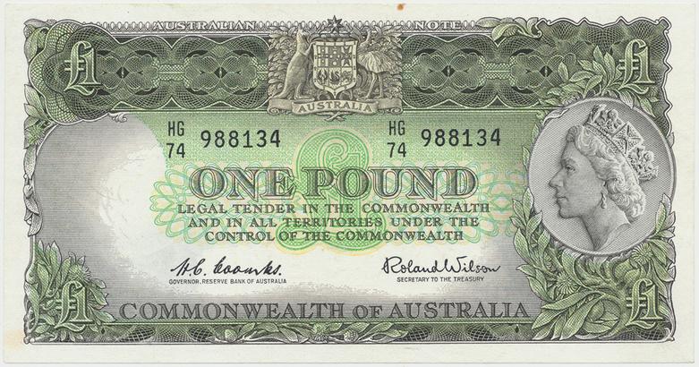 Austrálie, 1 Pound (1961~1965), výjimečně pěkná, P.34a