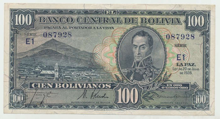 Bolívie, 100 Bolivianos 1928, II. vydání, P.133