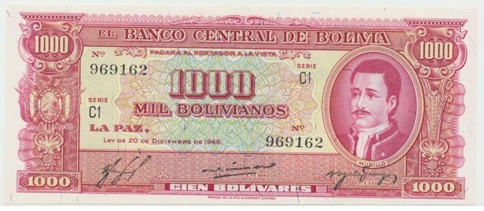 Bolívie, 1000 Bolivianos 1945, P.149