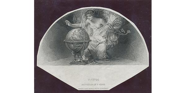 Československo, Otisk hlubotiskové rytiny motivu ženy s glóbem pro 1000 Kč/1919