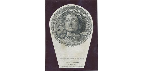 Československo, Otisk hlubotiskové rytiny medailonu s hlavou legionáře pro avers 500 Kč/1923