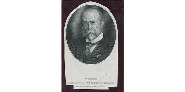 Československo, Otisk hlubotiskové rytiny s portrétem T. G. Masaryka