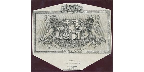Československo, Otisk hlubotiskové rytiny s velkým státním znakem