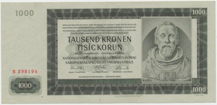 Protektorát Čechy a Morava, 1000 Koruna 1942, I. vydání, Baj.38