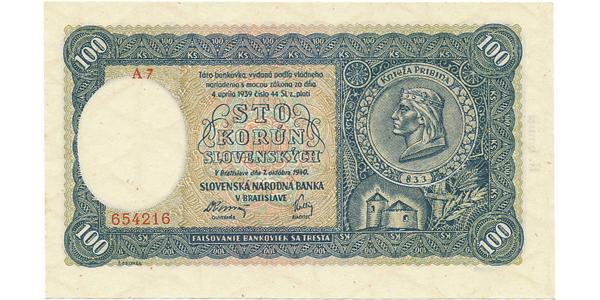 Slovensko, 100 Koruna 1940, II, vydání, série A 4 nebo A 7, Baj.49a