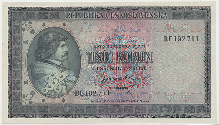 Československo, 1000 Koruna b.d. (1945), perforace 3 md, Baj.76