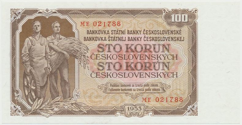 Československo, 100 Koruna 1953, tisk Praha, série ME, Hej.104b, BHK.92b