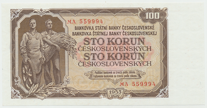 Československo, 100 Koruna 1953, tisk Praha, Hej.104b, BHK.92b