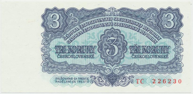 Československo, 3 Koruna 1961, série TC, Hej.107a, BHK.95