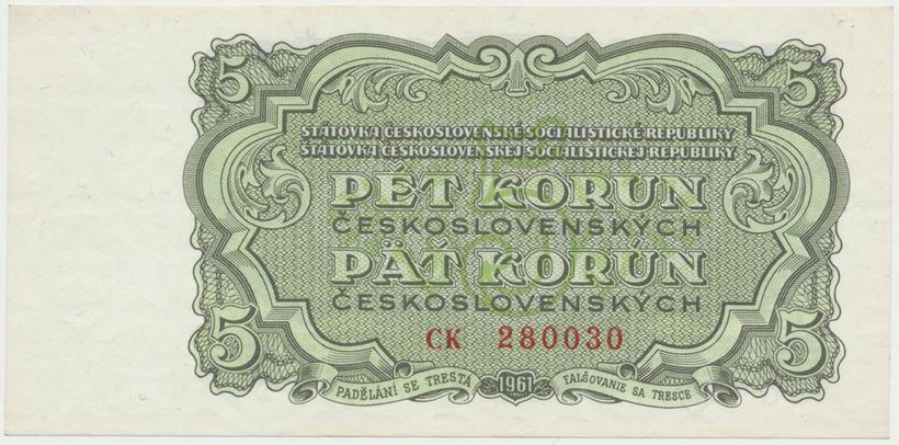 Československo, 5 Koruna 1961, série CK, Hej.108a, BHK.96