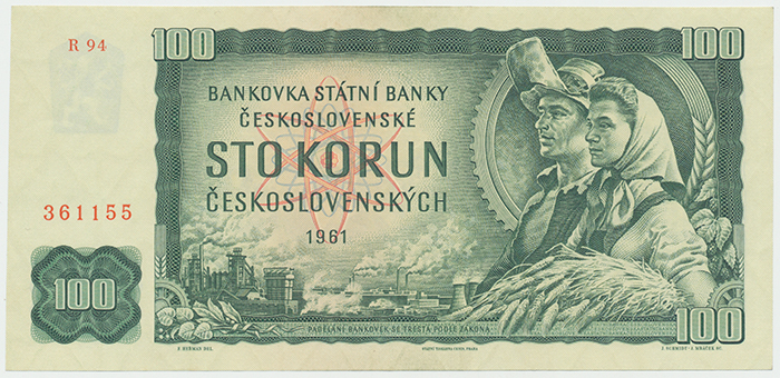 Československo, 100 Koruna 1961, I. vydání, série R, Hej.110cR, BHK.98b3