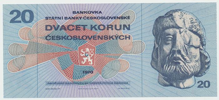 Československo, 20 Koruna 1970, série F, Hej.113aF, BHK.100