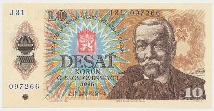Československo, 10 Koruna 1986, nízká série J, Hej.116bJ, BHK.103