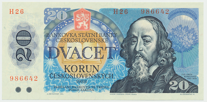 Československo, 20 Koruna 1988, série H, Hej.118aH, BHK.105