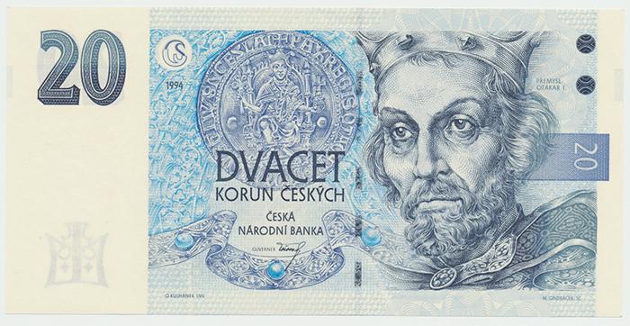 Česká republika, 20 Koruna 1994, série A (proužek vpravo), Hej.CZ13aA, BHK.CZ10a