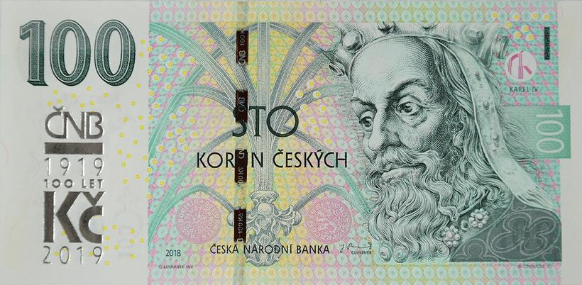 100 Koruna 2018/2019, série M, s přetiskem ČNB - 100 let Kč
