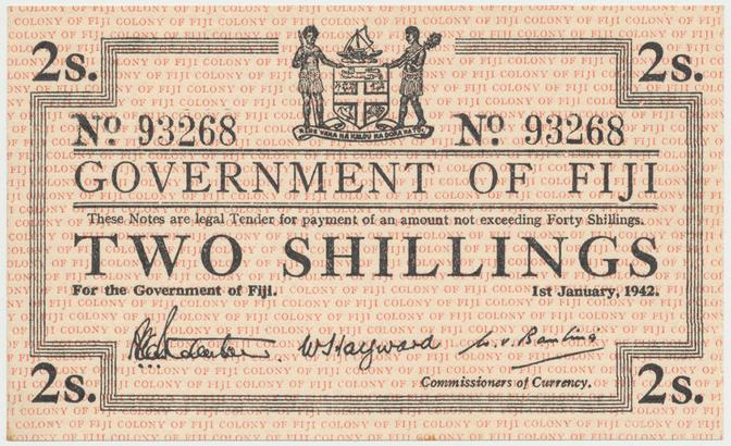 Fidži, 2 Shillings 1942, P.50a