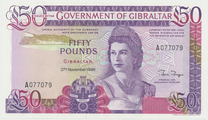 Gibraltar, 50 Pounds 1986, P.24