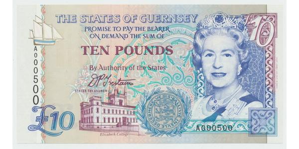 Guernsey, 10 Pounds b.d. (1995), P.57a, číslo A 000500