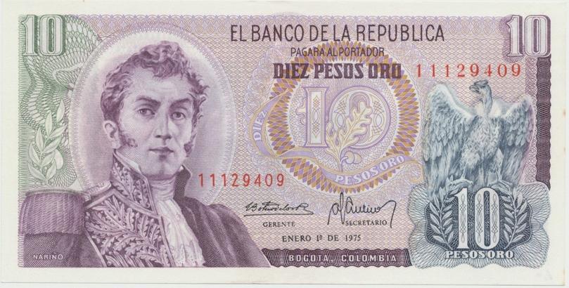 Kolumbie, 10 Pesos Oro 1975~1978, P.407f
