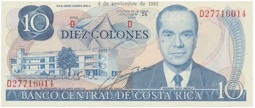 Kostarika, 10 Colones 1983~1987, P.237b