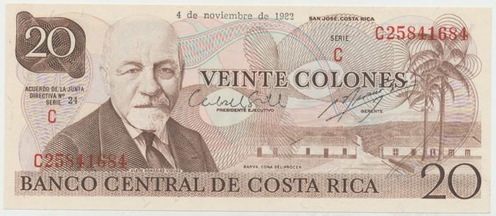 Kostarika, 20 Colones 1982, P.238c