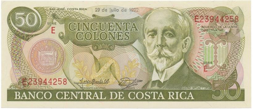 Kostarika, 50 Colones 1991~1993, P.257a