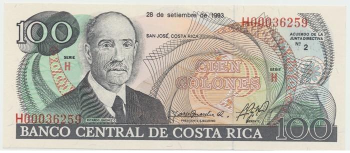 Kostarika, 100 Colones 1993, P.261