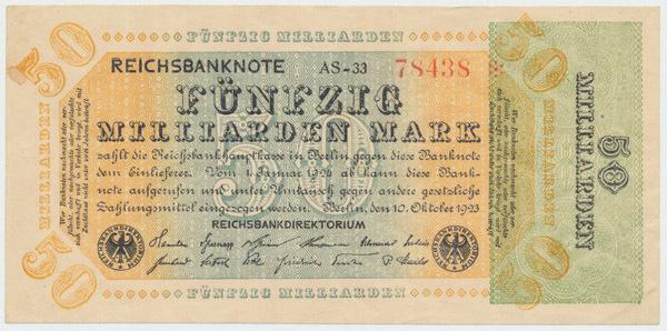 Německo, 50 Milliarden Mark 1923, 5-místný číslovač, Ro.117a