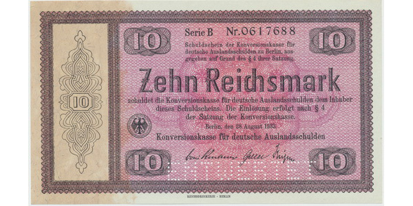 "Německo - Konversionskasse, 10 RM 1933, perforace ""ENTWERTET"", Ro.701E1"