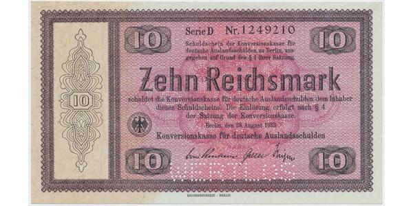 "Německo - Konversionskasse, 10 RM 1933, perforace ""WERTLOS"", Ro.701E2"
