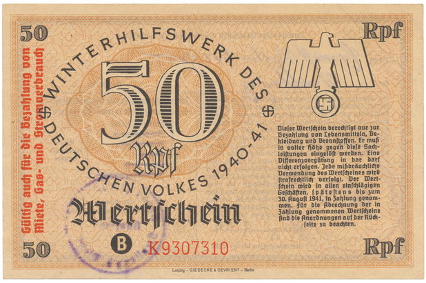 Německo - Winterhilfe, 50 Reichspfennig 1940/1941, vlevo s přetiskem