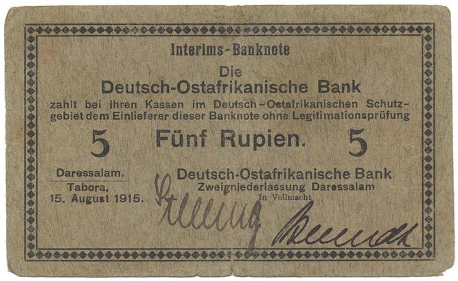 Německá Východní Afrika, 5 Rupien 15. 8. 1915, R.910b
