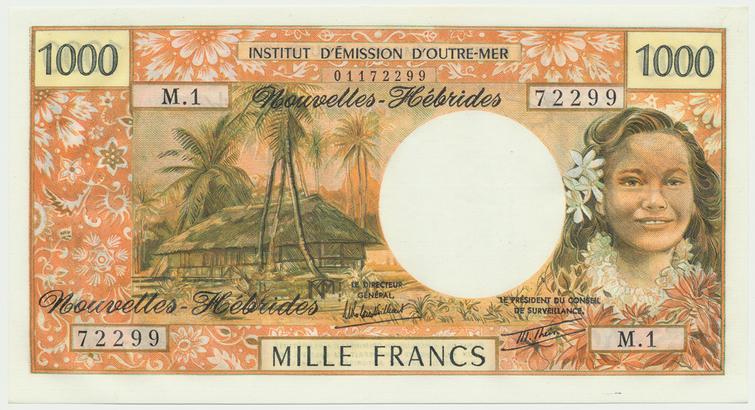 Nové Hebridy, 1000 Francs (1979-1980), P.20c