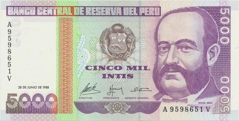 Peru, 5000 Intis 1988, tisk G&D, P.137
